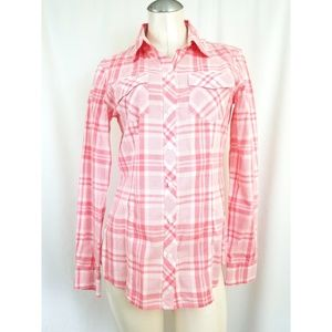 Banana Republic Size M Pink Plaid Button Down Top